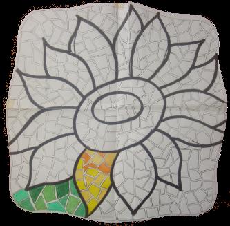 Pintura mosaico de girasol parte 5 pintura facil para ti - Como pintar mosaicos ...