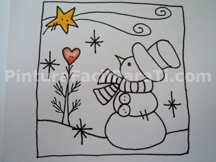 Tarjetas para colorear parte 2 pintura facil para ti - Dibujos navidad en color ...