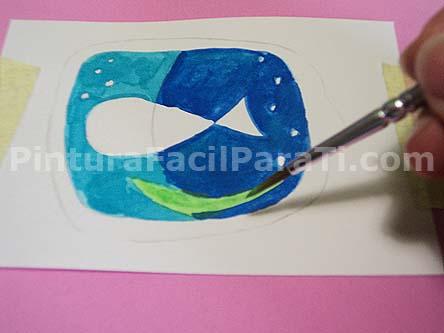 no te olvides de las algas al pintar tarjetas con fondo marino