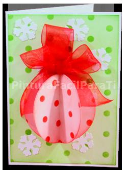 Tarjetas de navidad con esfera pintura facil para ti - Hacer una tarjeta navidena ...